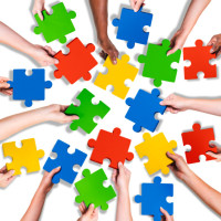 Group of Diverse Hands Holding Jigsaw Puzzle